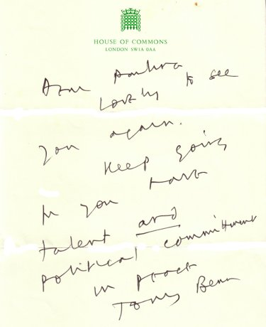 Image of Headed House of Commons paper with had written note from Tony Benn